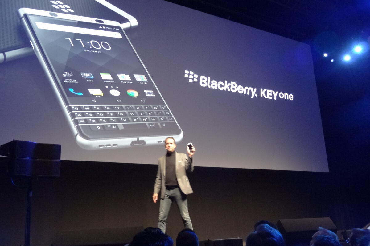 The new BlackBerry has a physical keyboard and will arrive in April